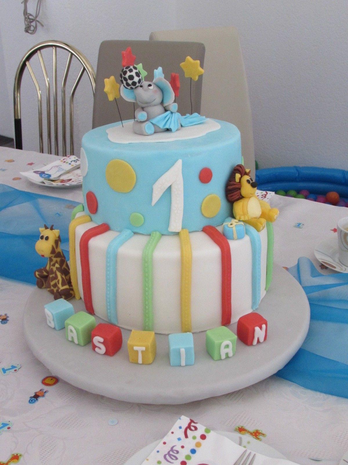 1. Geburtstag Torte Junge Elefant, Giraffe, Löwe (Mit für Geburtstagskuchen Zum 1 Geburtstag