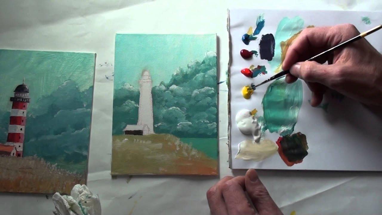 10-Minuten-Malerei: Leuchtturm Vor Sturmhimmel für Malvorlagen Acrylmalerei