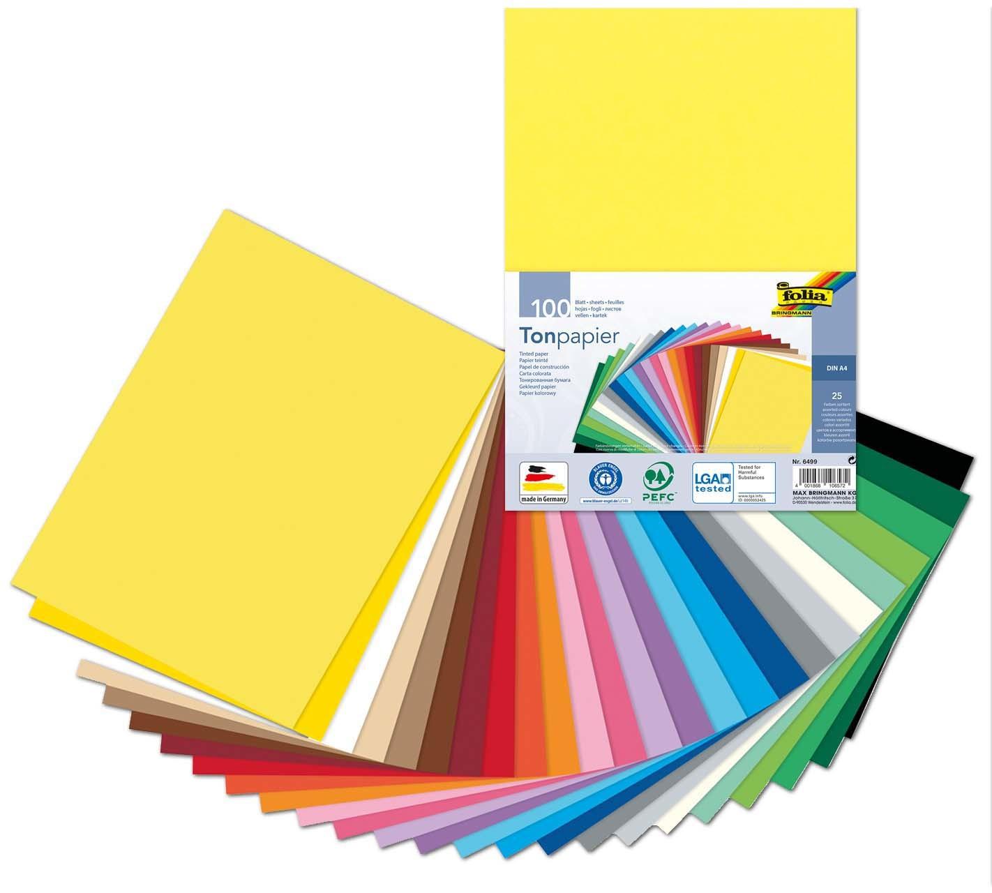 100 Blatt Tonpapier Din A4 - Bunt für Gemustertes Tonpapier