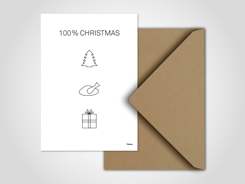 100% Christmas — Moderne Grußkarte, Weihnachten, Nikolaus innen Nikolaus Grußkarte