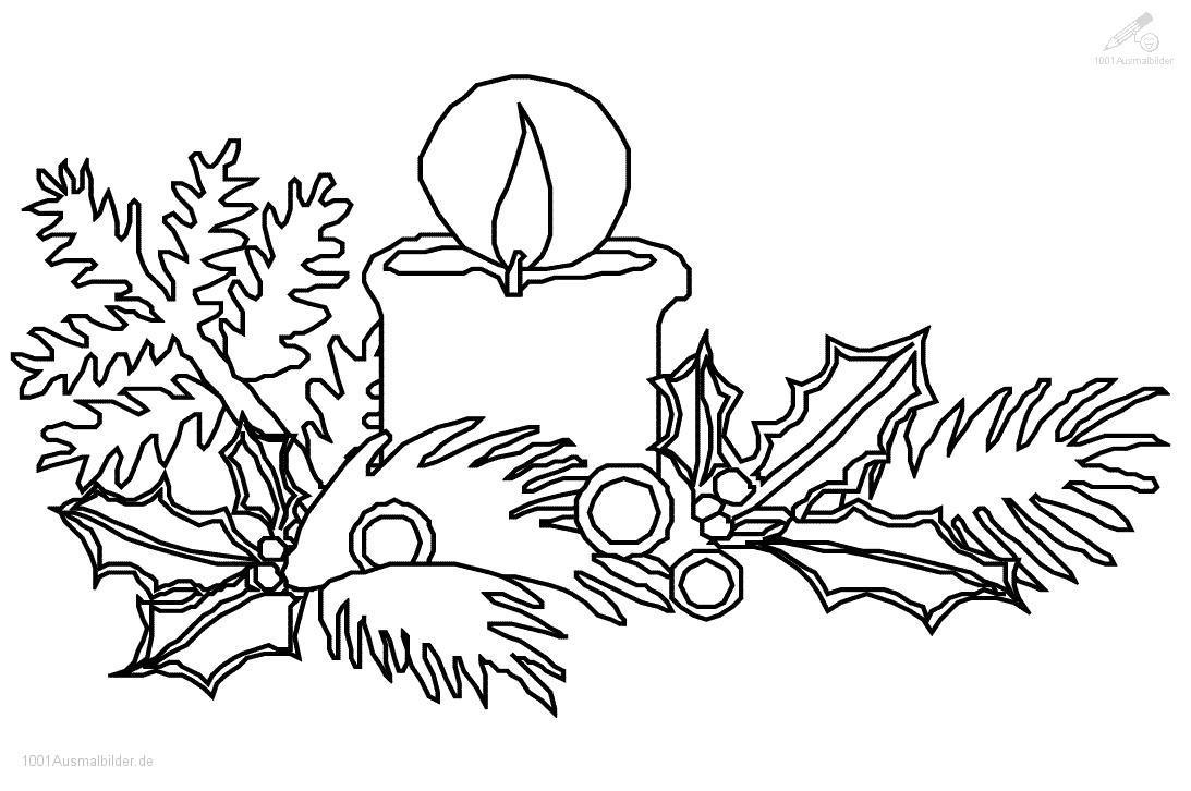1001 Ausmalbilder : Weihnachten >> Kerzen >> Ausmalbild bei Kerzen Ausmalbilder