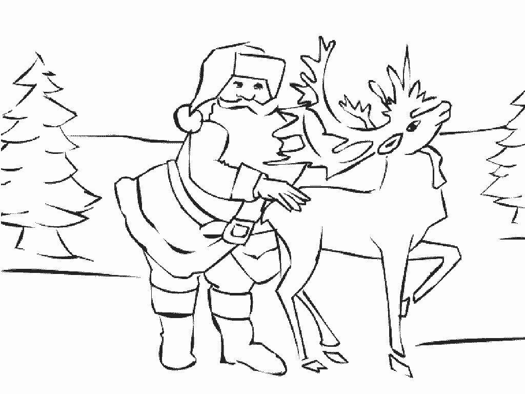 1001 Ausmalbilder : Weihnachten >> Rentier Rudolph für Ausmalbilder Rentier