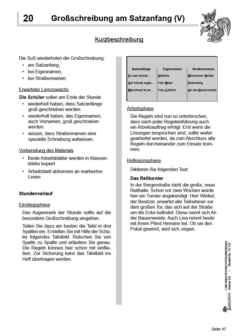 1350 Minuten Rechtschreibung / Klasse 5-6 innen Abwechslungsreiche Satzanfänge Arbeitsblatt Zur Übung