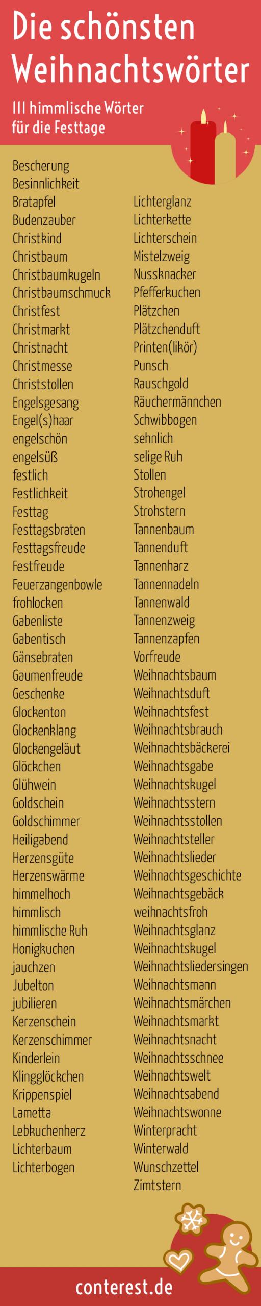 139 Wunderschöne Wörter Für Weihnachten – Tannenduft verwandt mit Weihnachtliche Wörter