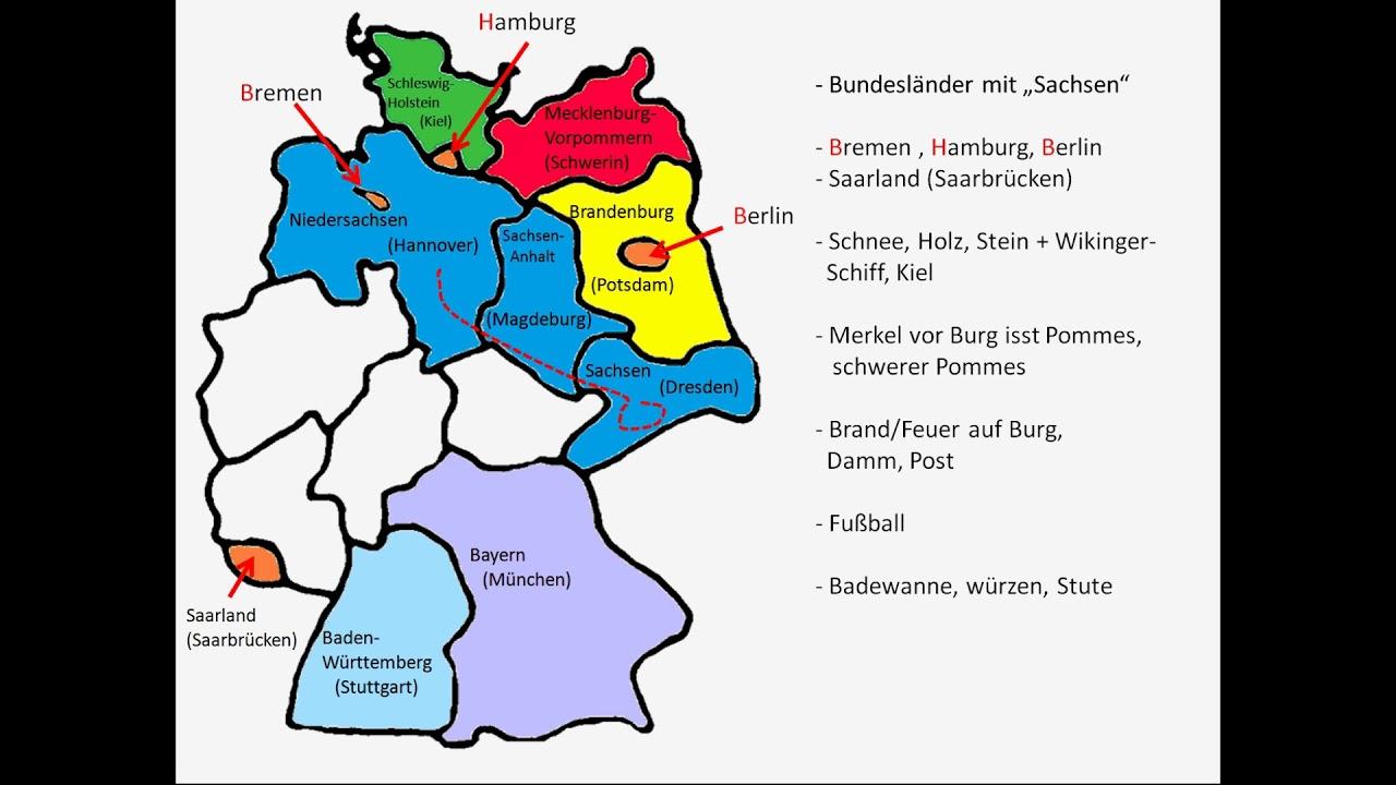 16 Bundesländer Von Deutschland Und Haupstädte Schnell Gelernt (Geschichte  Ausdenken) mit Deutschland Bundesländer Mit Hauptstädten