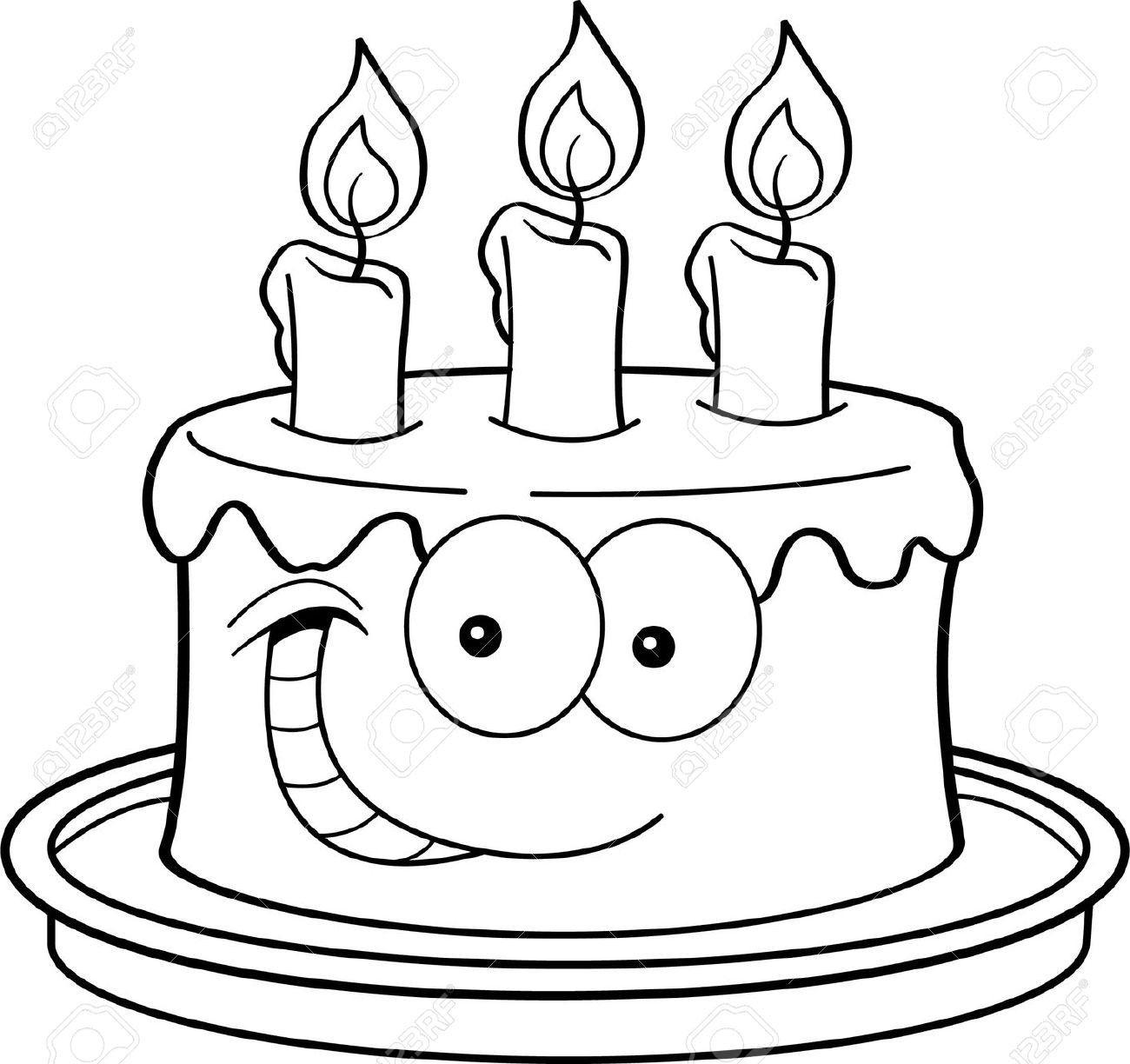20 Besten Ideen Geburtstagskuchen Clipart Schwarz Weiß In bestimmt für Kuchen Ausmalbild