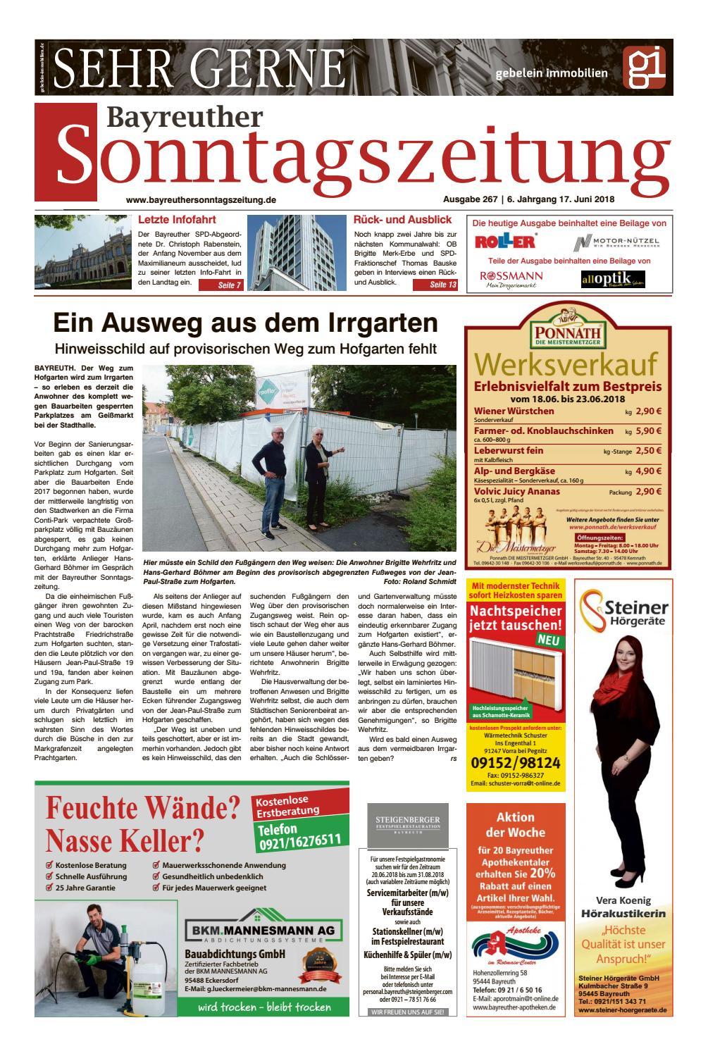 2018 06 17 By Bayreuther Sonntagszeitung - Issuu innen Roller Bayreuth Öffnungszeiten