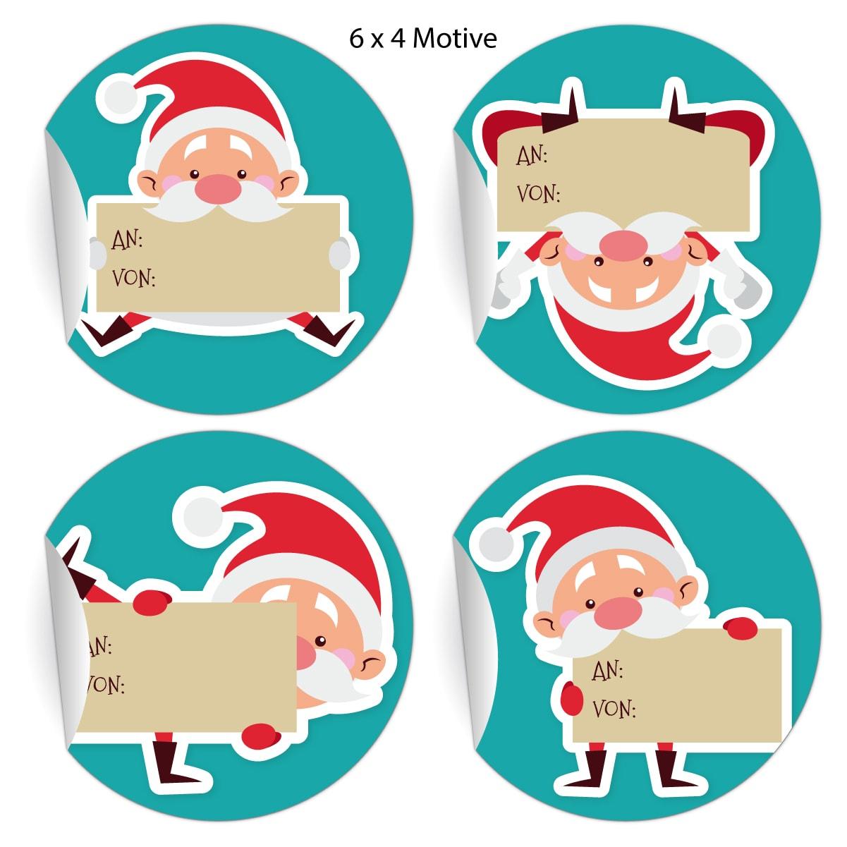 24 Super Lustige Aufkleber Zu Weihnachten Mit Comic Weihnachtsmann Zum  Beschriften: An Von, Blau Grün, Matte Papieraufkleber Auch (Ø 45Mm; 4  Motive) in Comic Weihnachtsmann