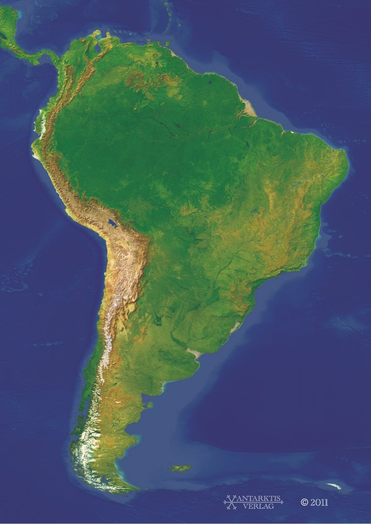 250 Poster Landkarte Südamerika Physisch A0 bei Stumme Karte Südamerika