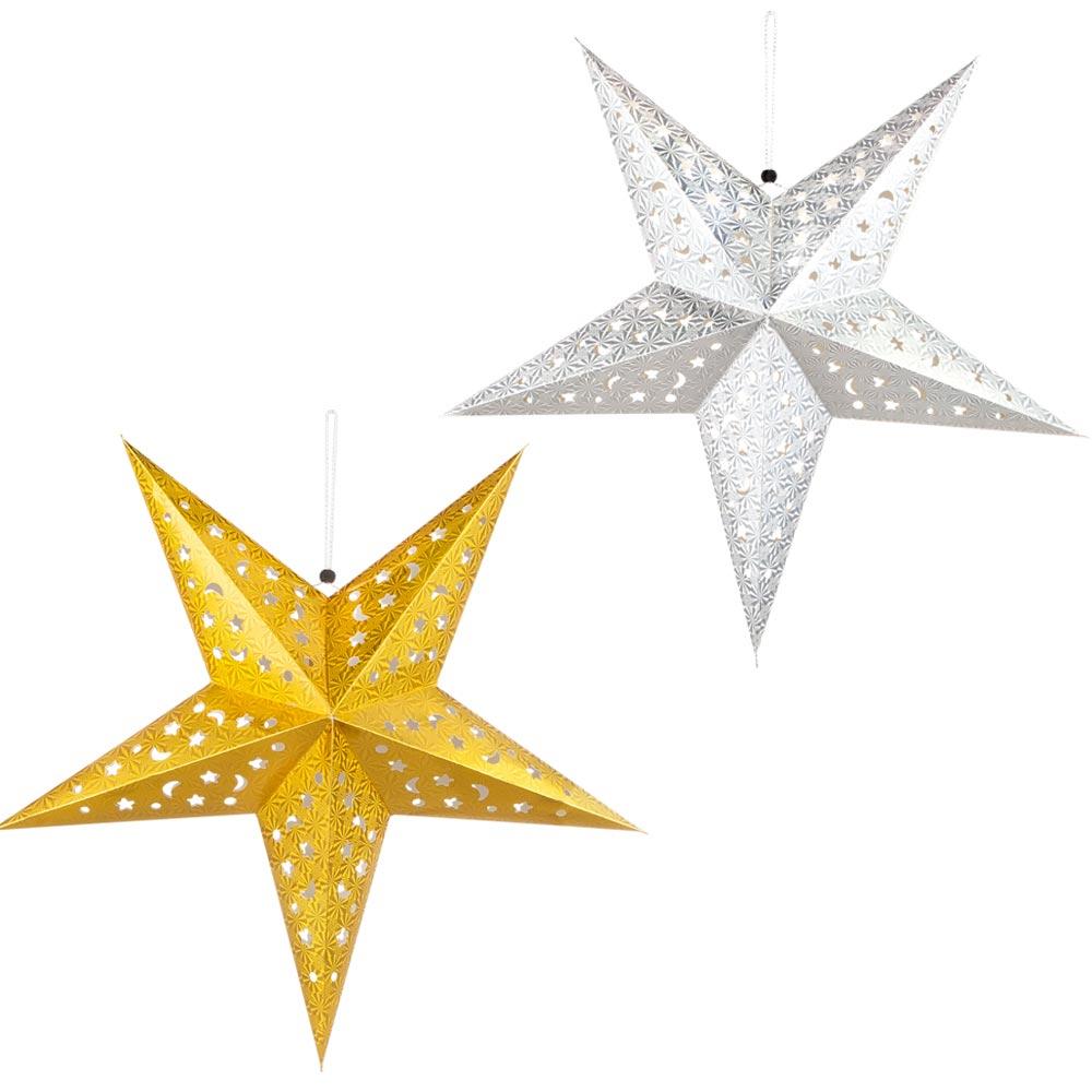 2Er Set Led Weihnachtssterne Hängelampen Gold, Silber, X-Mas innen Goldene Weihnachtssterne