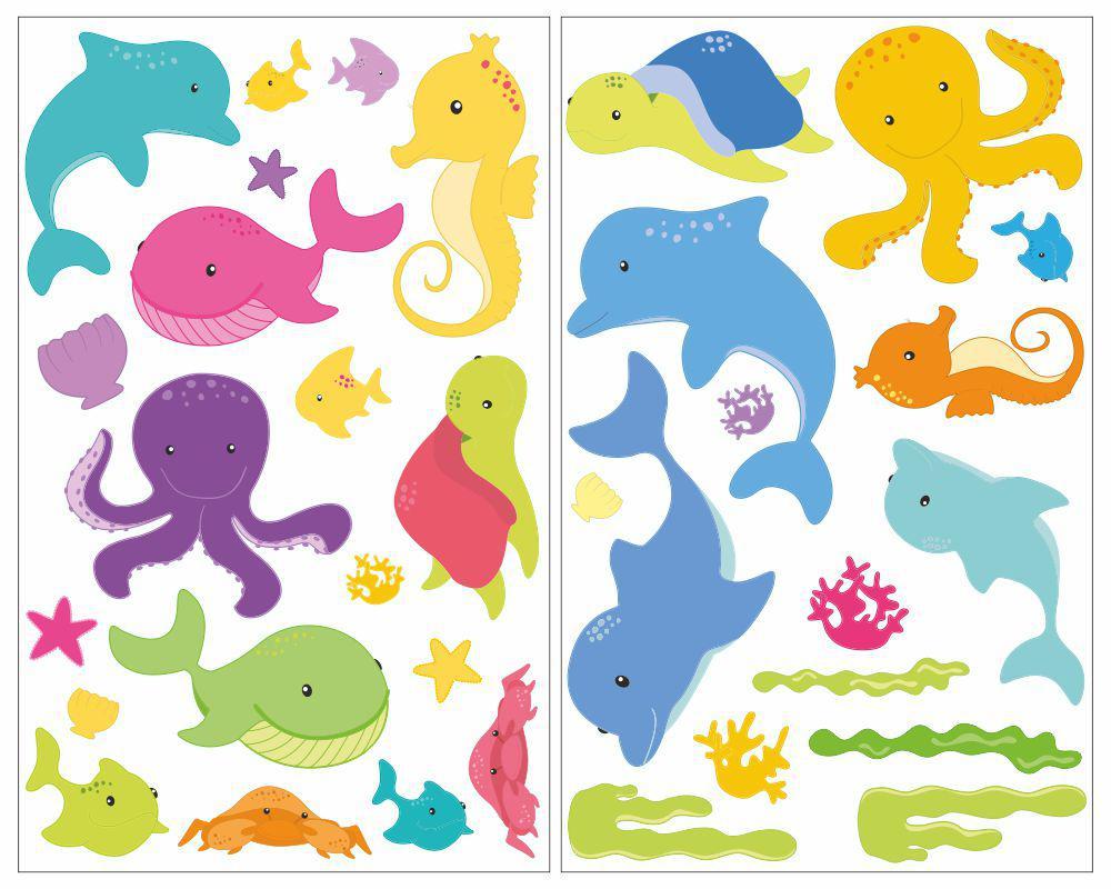 34-Teiliges Comic Fische Wandtattoo Set Kinderzimmer Babyzimmer Wal  Schildkröte innen Fische Comic