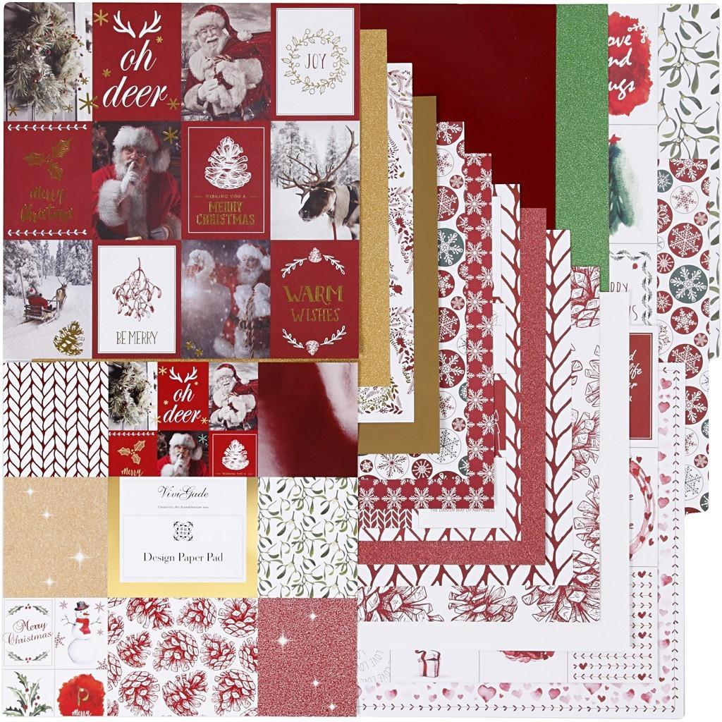 36 Blatt Designpapier 30,5 X 30,5 Cm - Vivi Gade Weihnachten 120G+128G bestimmt für Bastelpapier Weihnachten