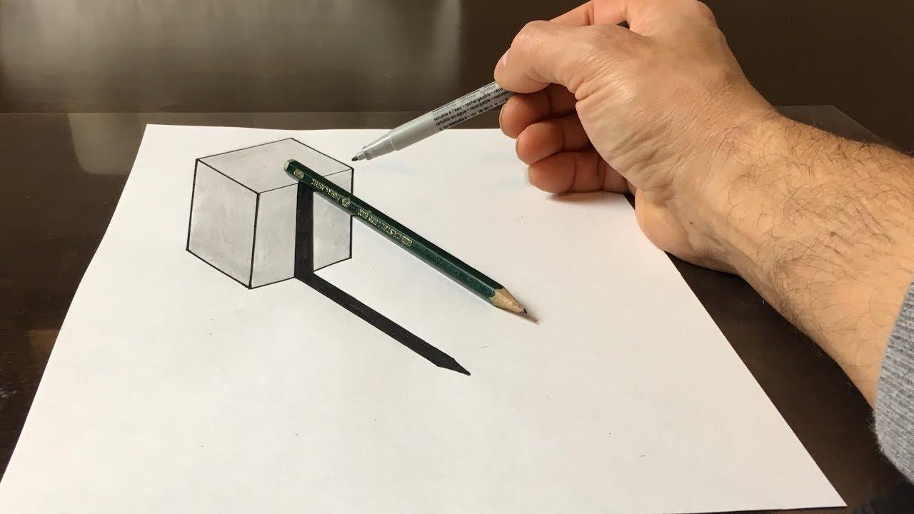 3D Cube With Pencil Illusion bestimmt für 3D Würfel Zeichnen