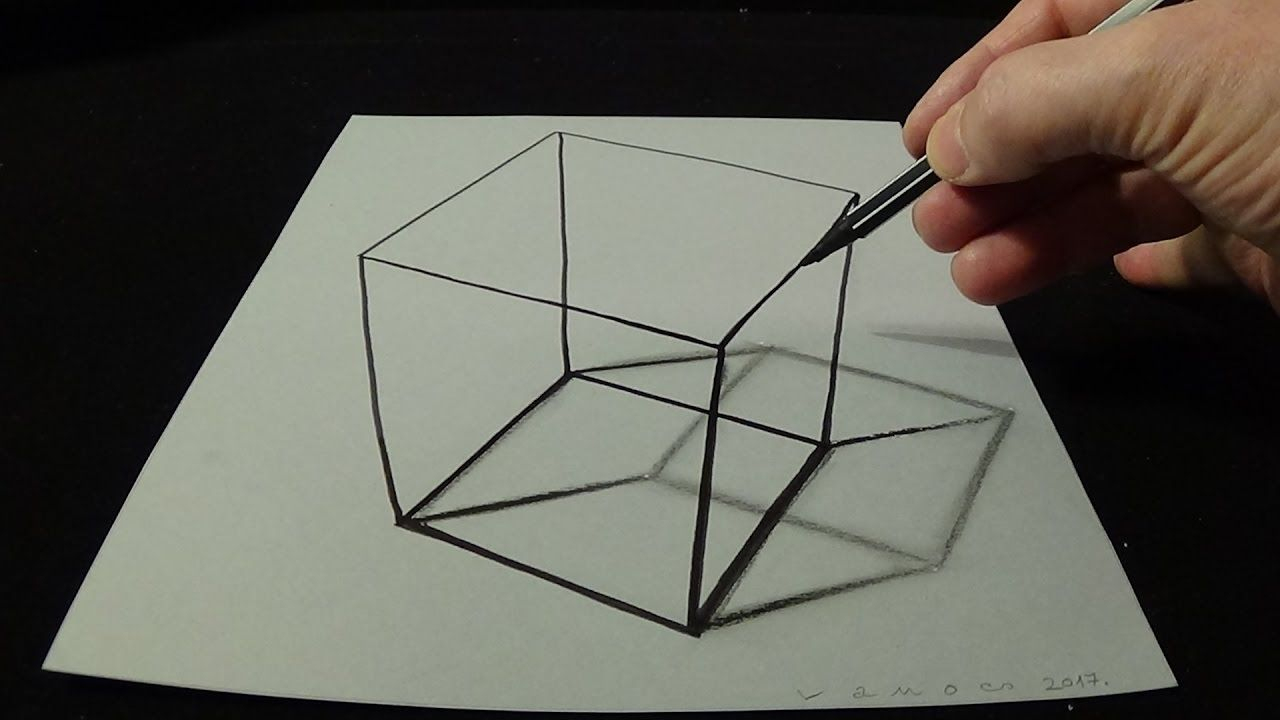3D Drawing A Simple Cube - No Time Lapse - How To Draw 3D für 3D Würfel Zeichnen