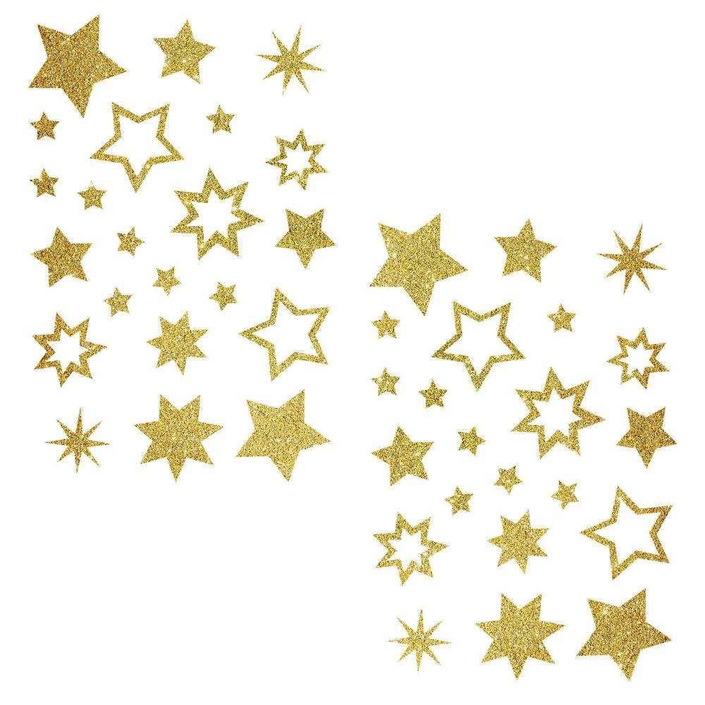44 Glitzernde Funkelnde Sterne Sticker Aufkleber ganzes Goldene Weihnachtssterne