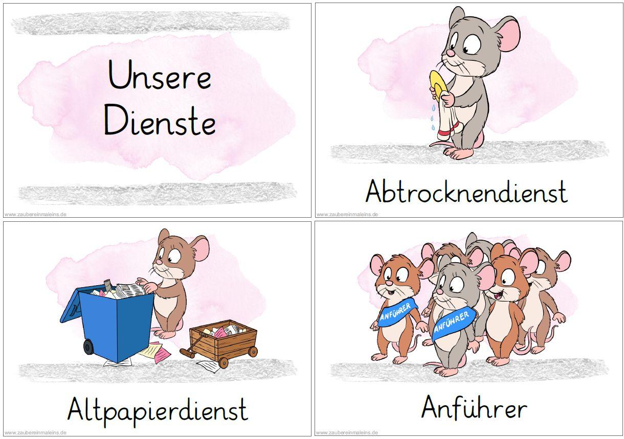 49 Diensteschilder Mäuse über Klassendienste Kopiervorlage