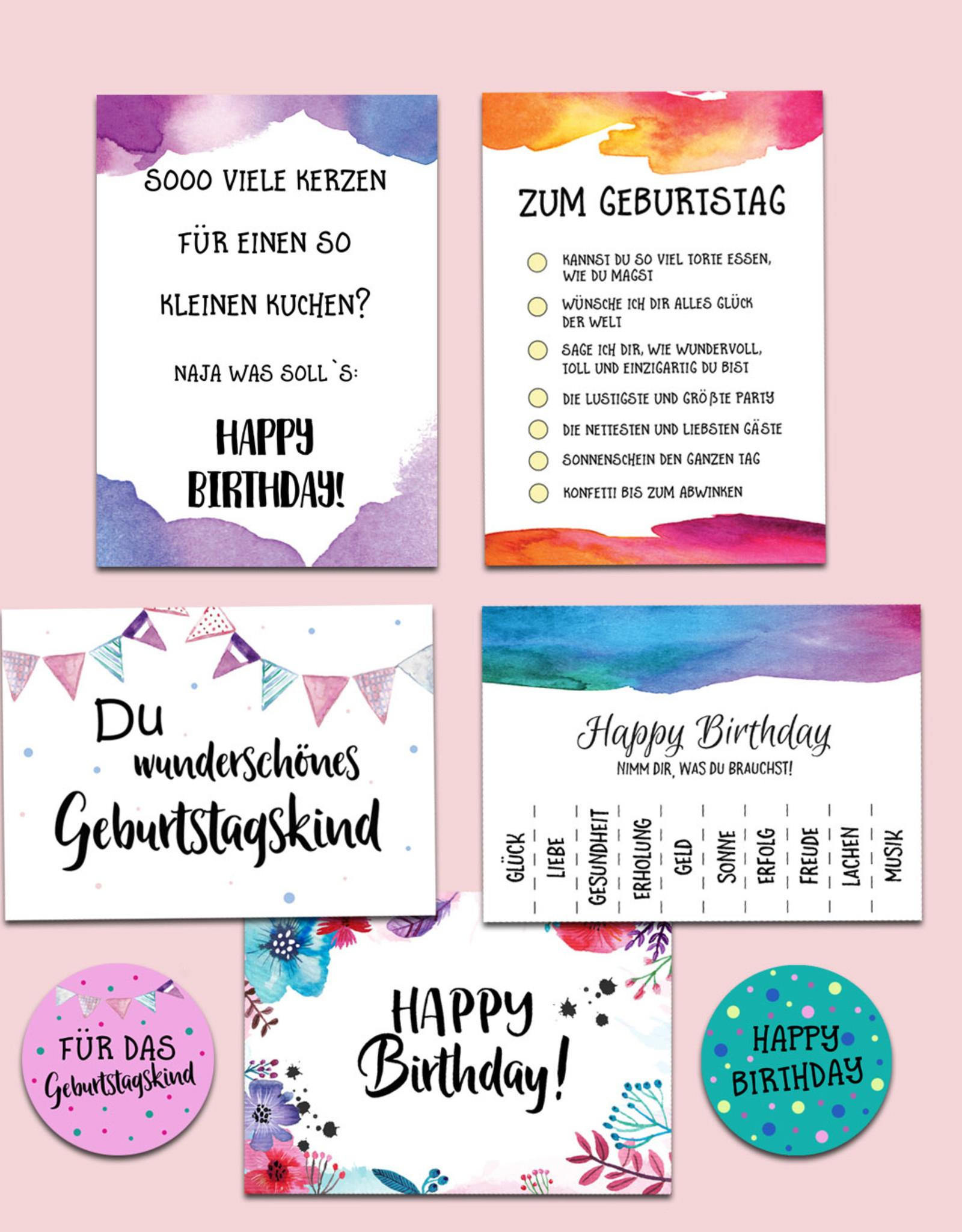 5 Geburtstagskarten Und 20 Sticker verwandt mit Geburtstagkarten