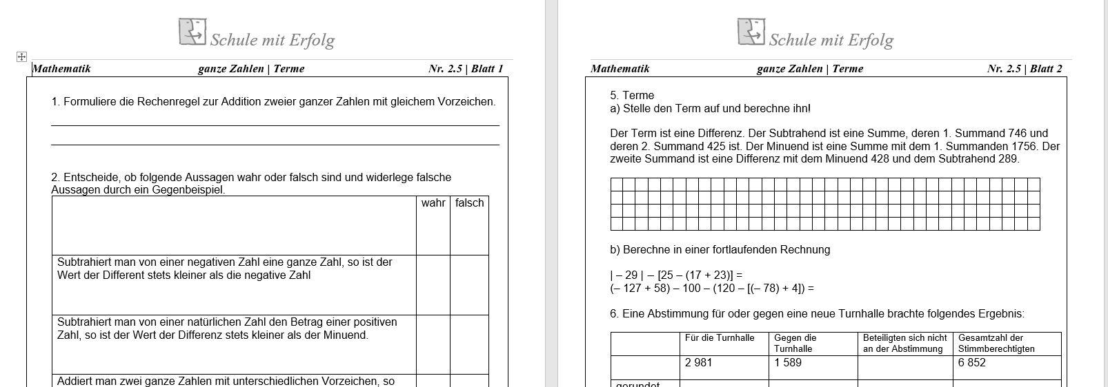 5. Klasse Schulaufgaben & Übungen - Gymnasium bei Mathearbeit Gymnasium Klasse 5