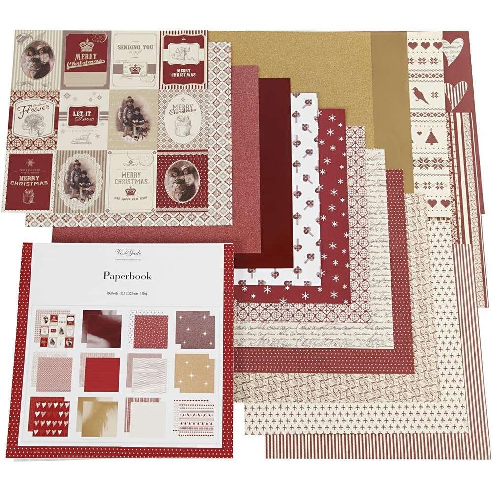 50Blatt Designpapier 30,5 X 30,5 Cm - Vivi Gade Weihnachten 120G ganzes Bastelpapier Weihnachten