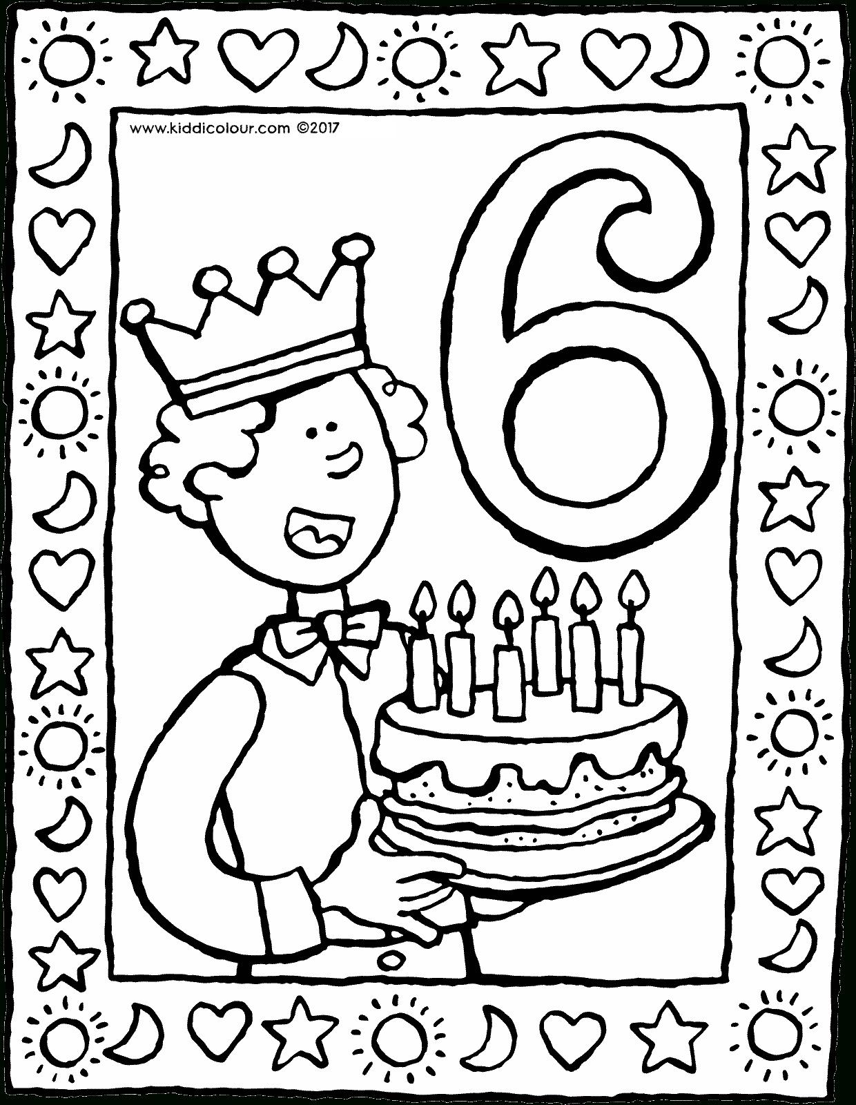 6 geburtstag mit torte  kiddimalseite ganzes malvorlage