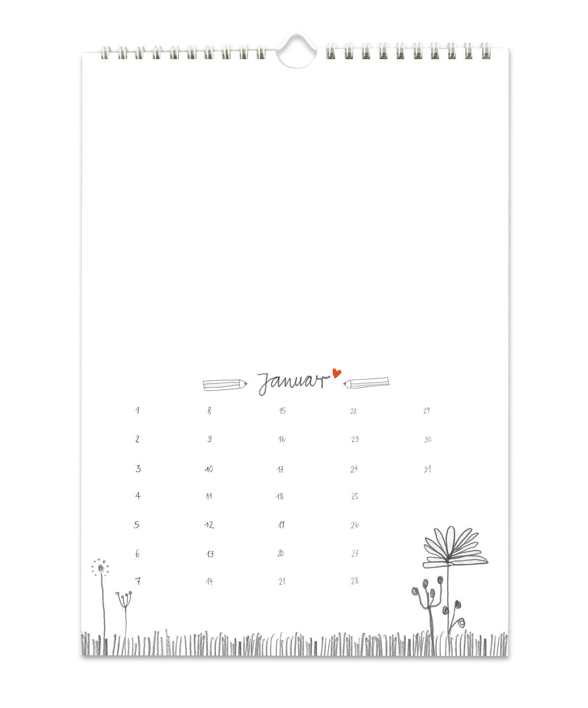 A4 Bastelkalender Immerwährend, Grau Weiß Handlettering für Fotokalender Ohne Jahr