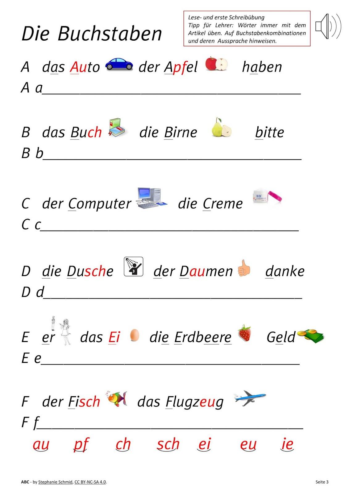 Abc – Lesen Und Schreiben Deutsch Lernen - Malvorlage bestimmt für Alphabet Deutsch Lernen