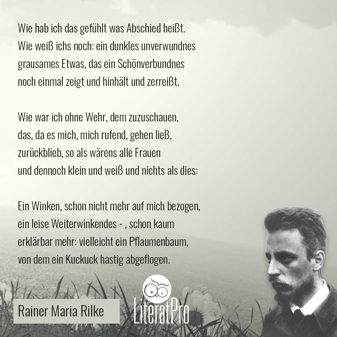 Abschied - Rainer Maria Rilke | Literatpro in Abschied Gedicht