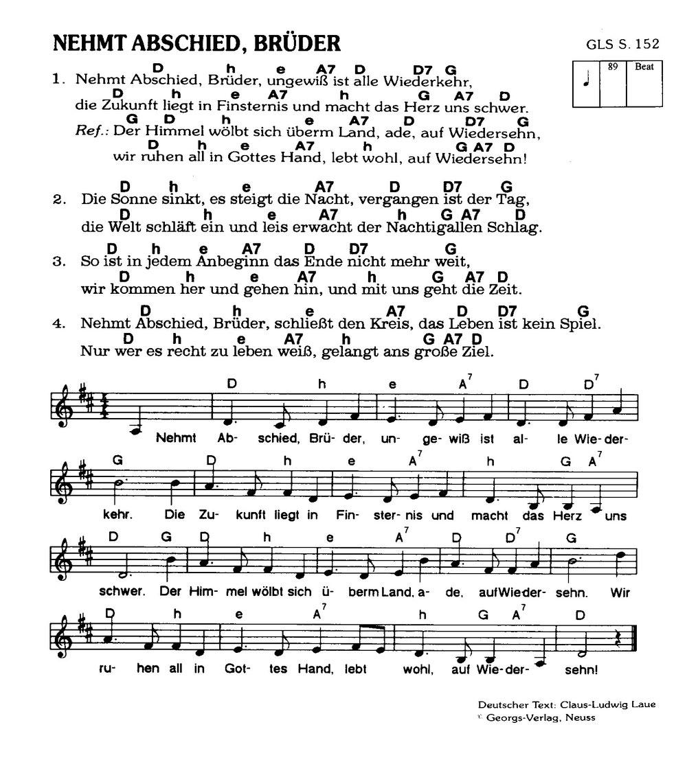 Abschiedslied Der Hauptschüler Jahrgang 1958 Blaubeuren über Nehmt Abschied Brüder Ungewiss Text