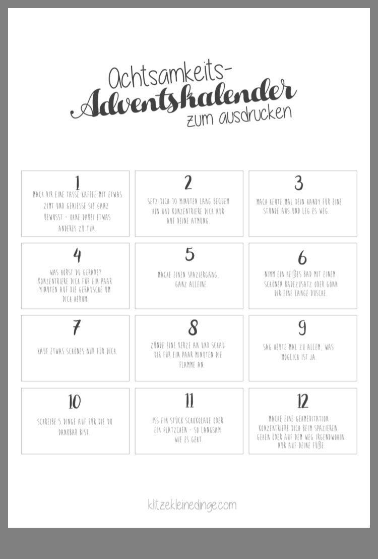 Achtsamkeit | Adventkalender, Adventskalender mit Adventskalender Rätsel Zum Ausdrucken