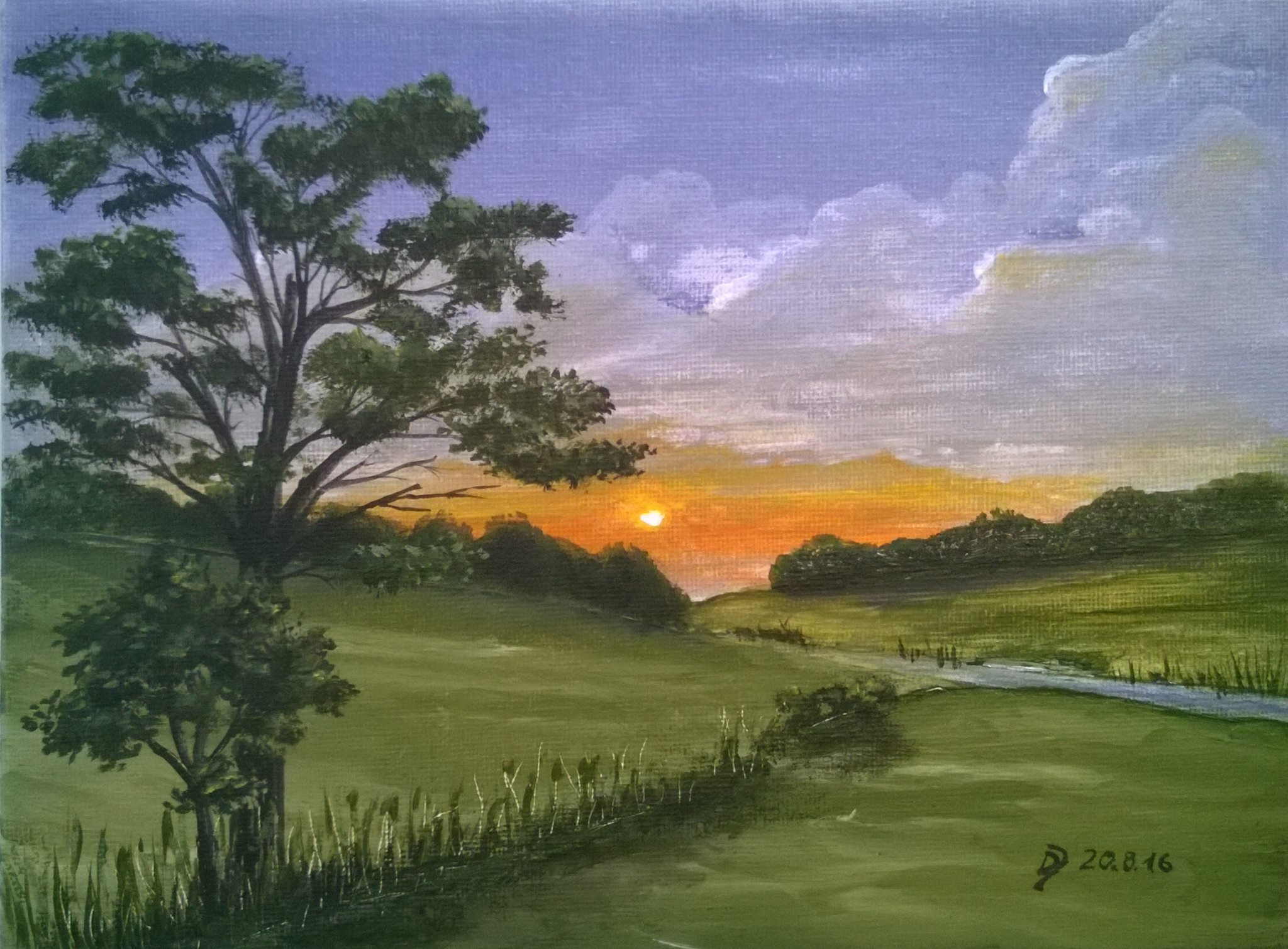 Acryl-Malkurs Online: Sonnenuntergang In Der Natur   Malen für Malkurs Online
