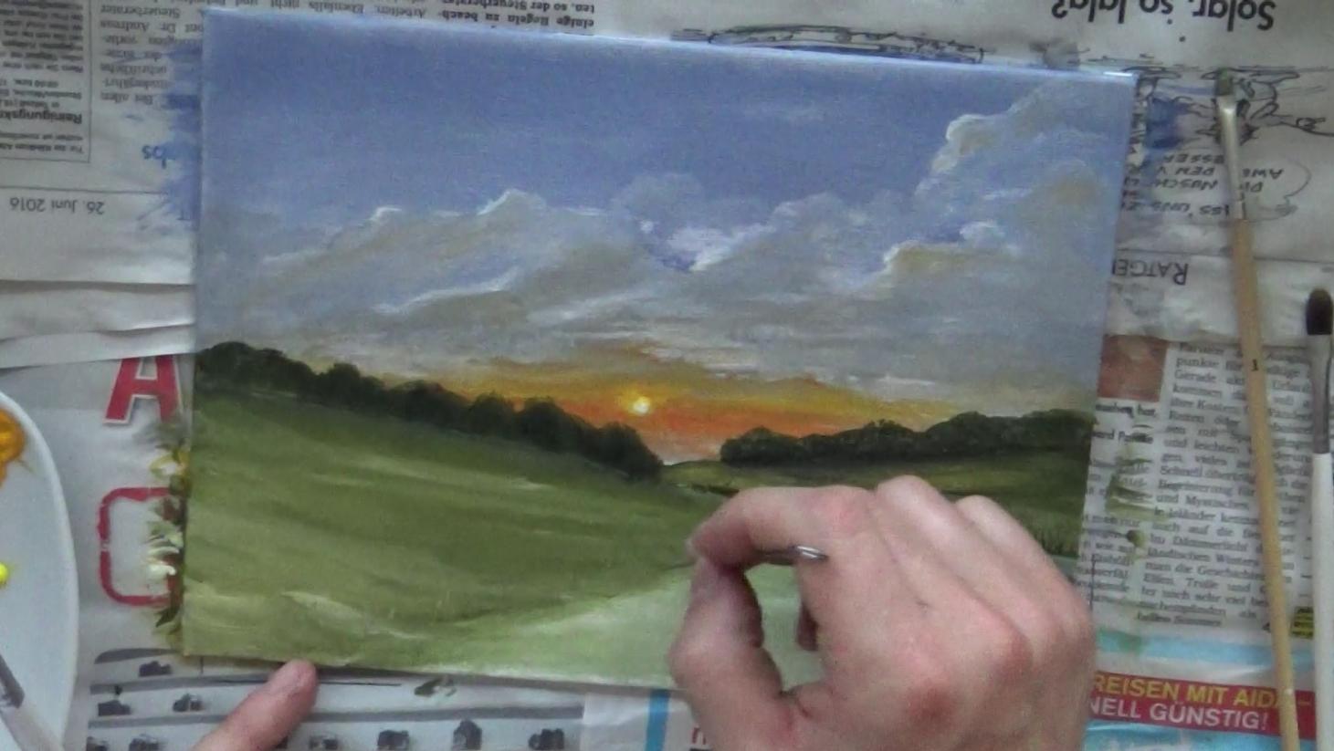 Acryl-Malkurs Online: Sonnenuntergang In Der Natur   Malen ganzes Malkurs Online