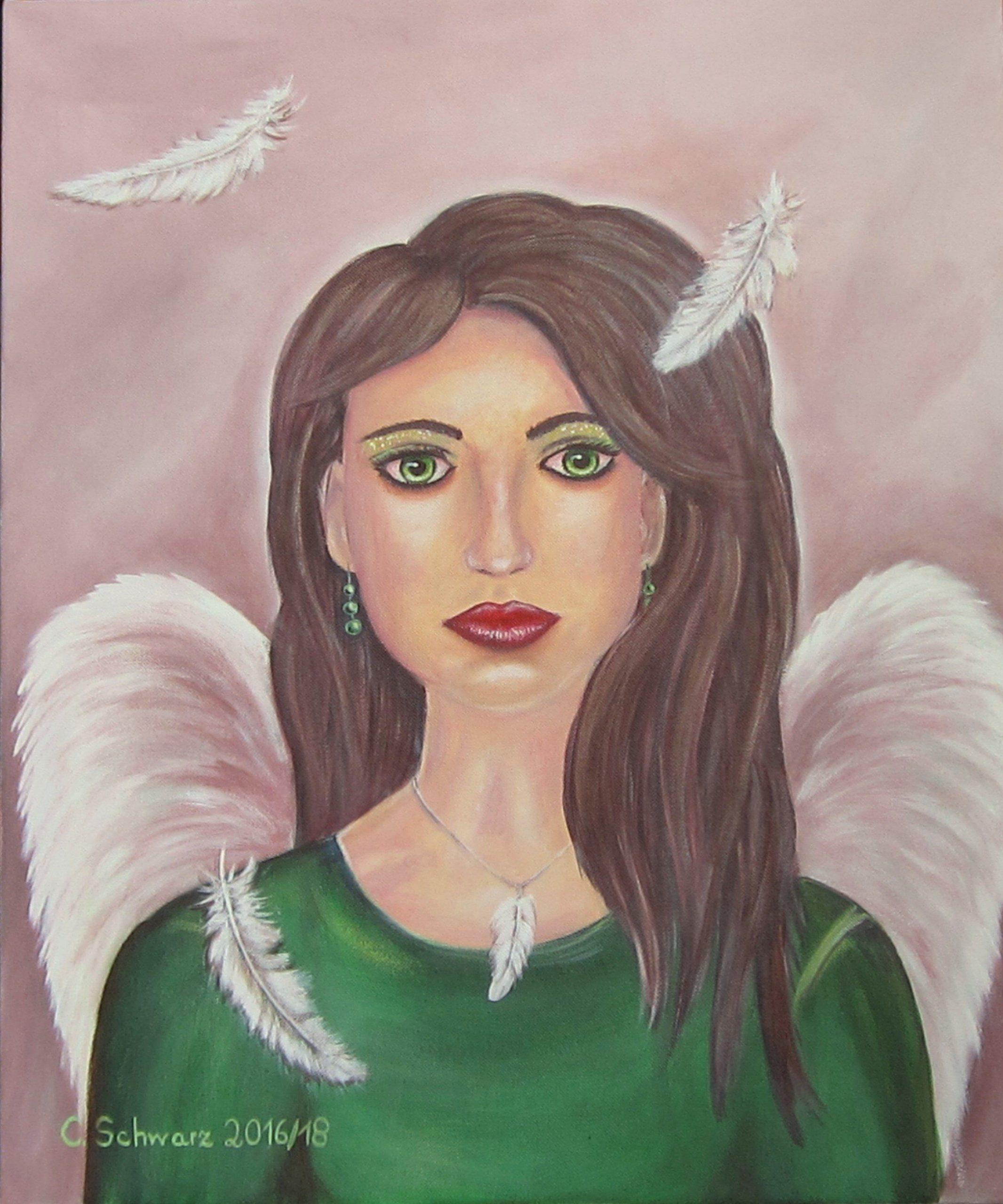 "Acrylic Painting ""green-Eyed Angel""-Art Picture Angel über Engelsgesicht Malen"