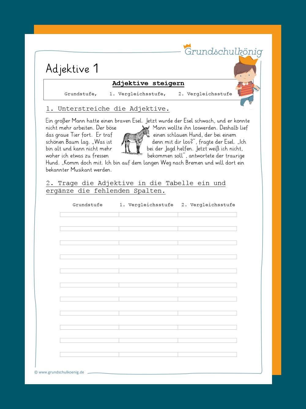 Adjektive/ Wiewörter mit Deutsch 3 Klasse Nomen Verben Adjektive Übungen