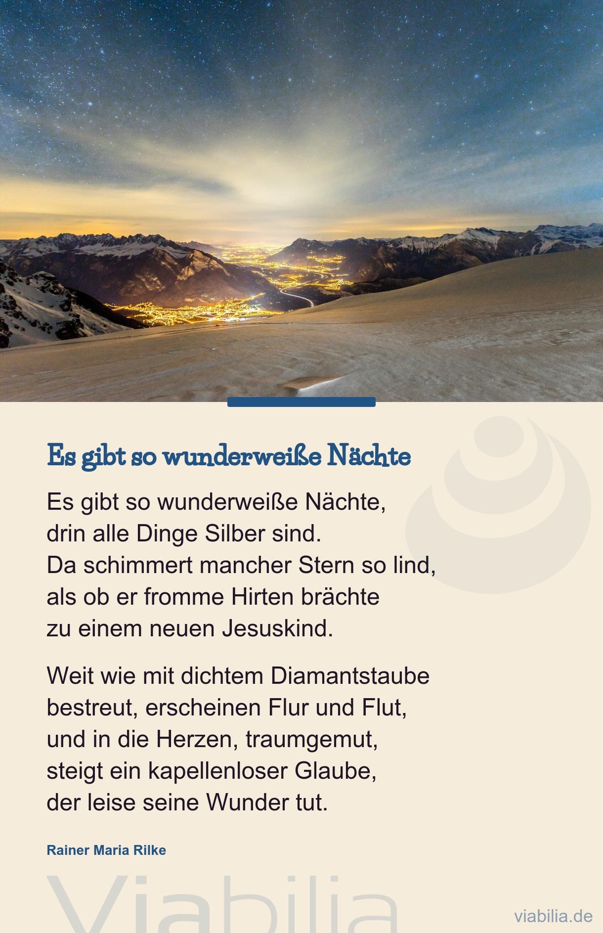 Adventsgedicht: Es Gibt So Wunderweiße Nächte über Rainer Maria Rilke Weihnachtsgedichte