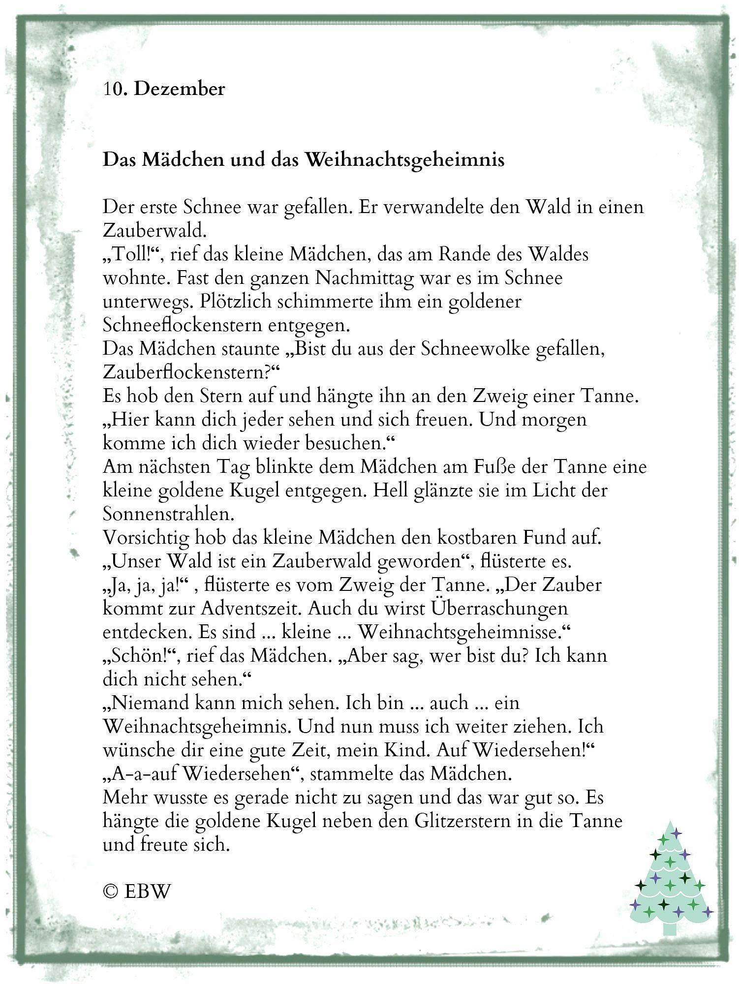 Adventsgeheimnis – 10. Dezember   Weihnachten Geschichte ganzes Lustige Weihnachtsgeschichten Für Kindergartenkinder Kurz