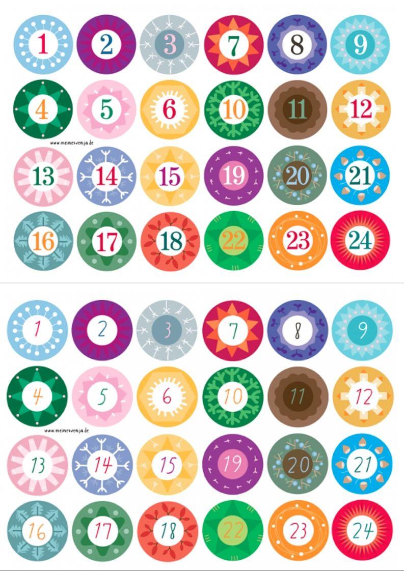 Adventskalender Zahlen Zum Ausdrucken | Adventkalender bestimmt für Verschnörkelte Zahlen Zum Ausdrucken