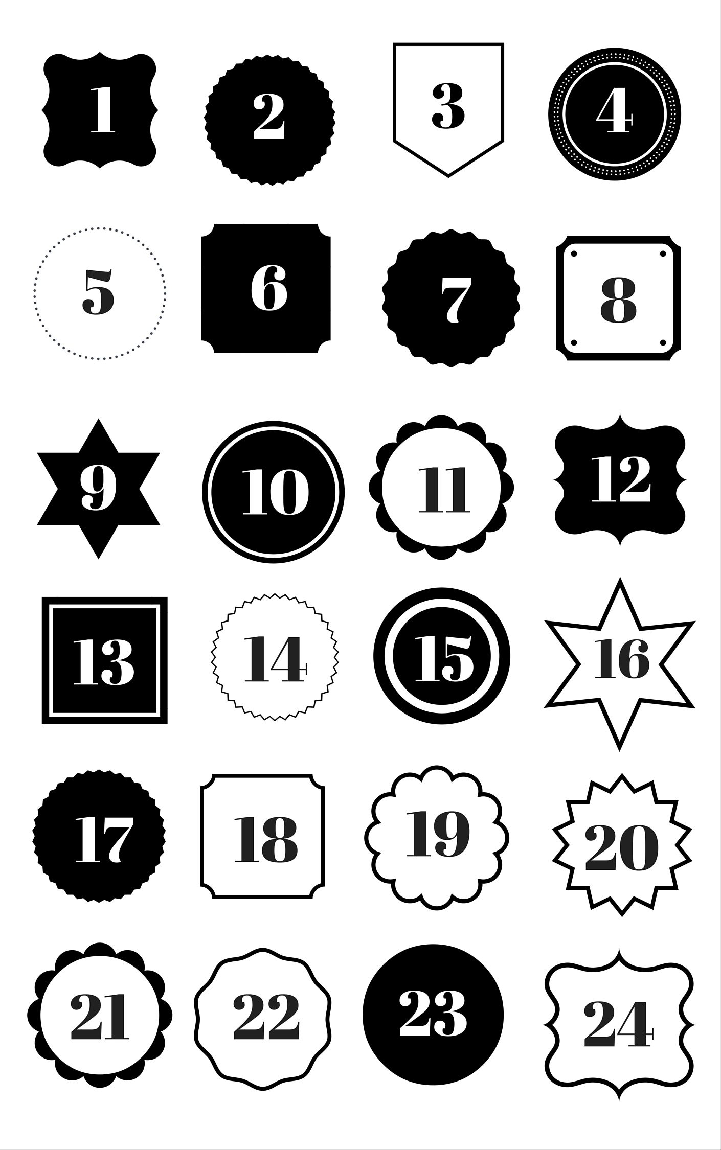 Adventskalender Zahlen Zum Ausdrucken | Adventskalender über Adventskalender Zahlen Druckvorlage