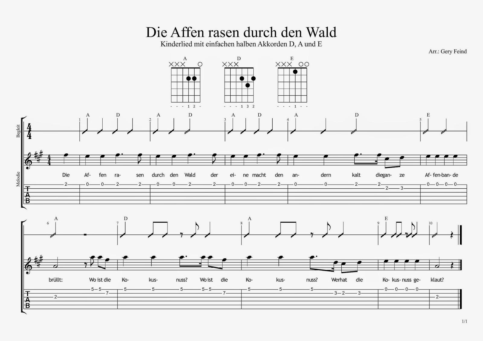 Affen Rasen Durch Den Wald Für Gitarre | Die Gitarren-Seite innen Die Affen Rasen Durch Den Wald Noten