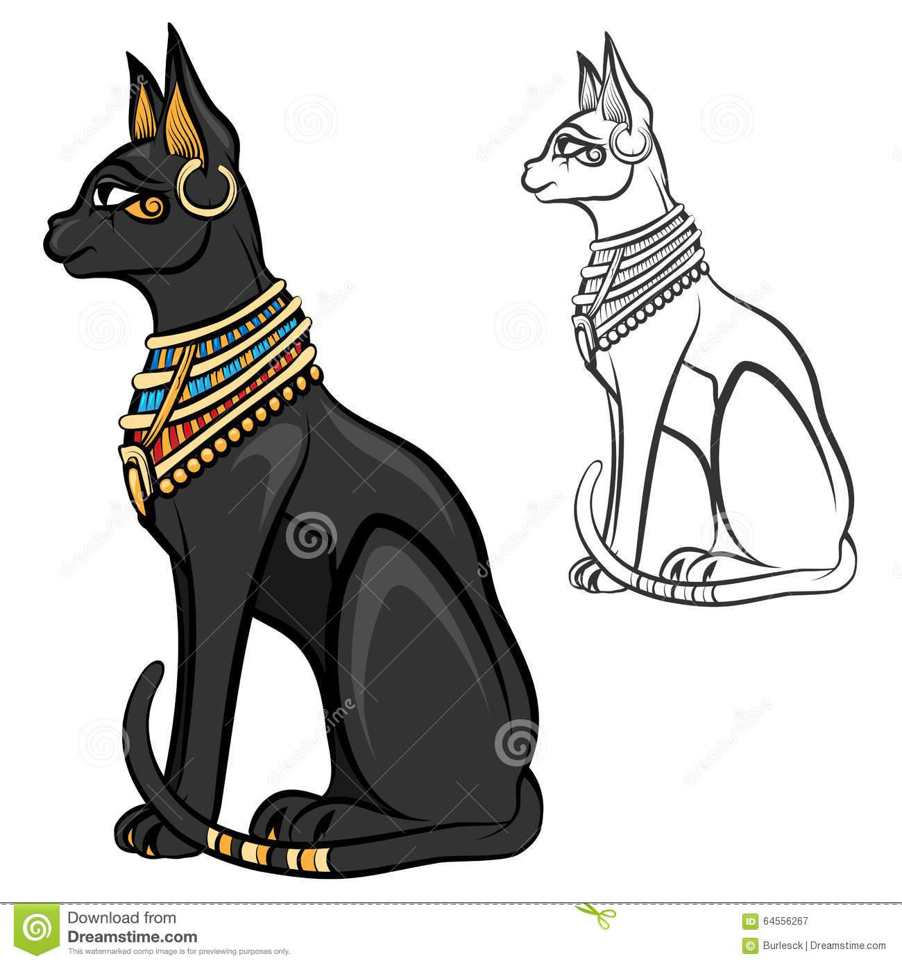 Ägypten-Katzengöttin Bastet Vektor Vektor Abbildung in Ägyptische Katzengöttin