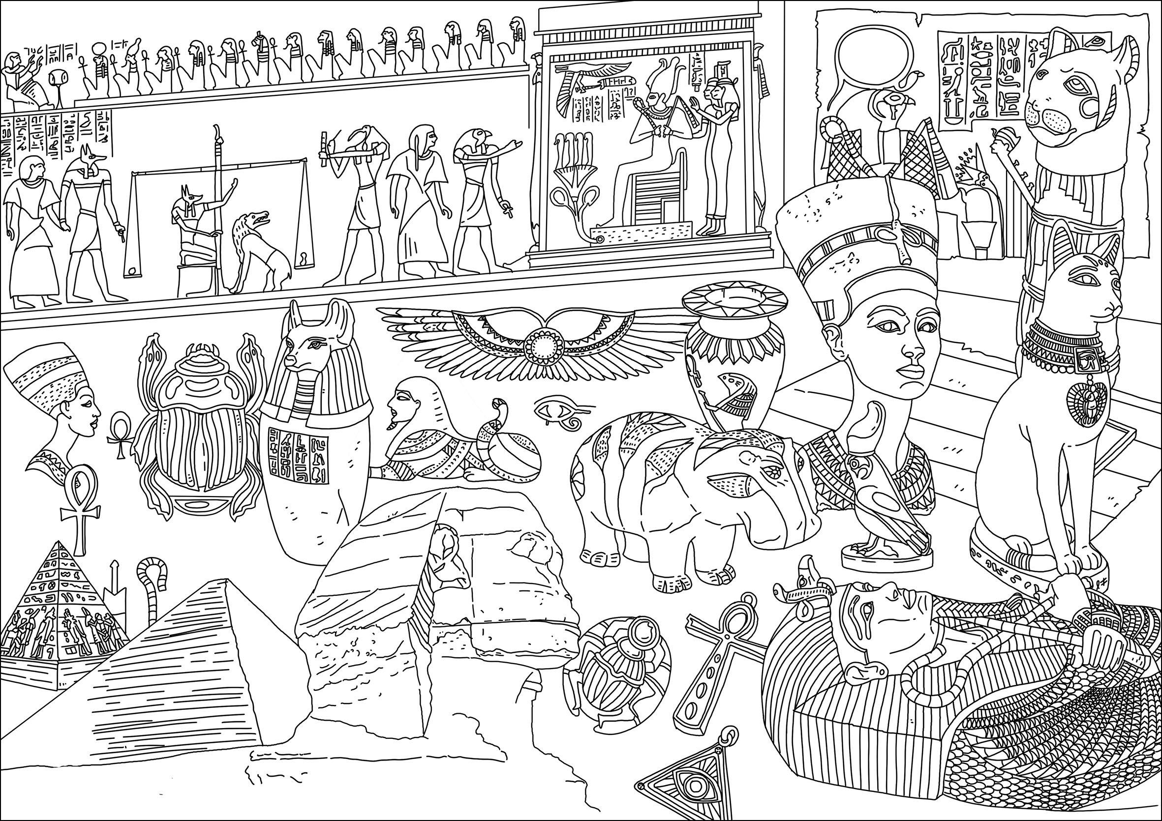 Agypten Und Hieroglyphen 21951 - Ägypten Und Hieroglyphen innen Ausmalbilder Ägypten