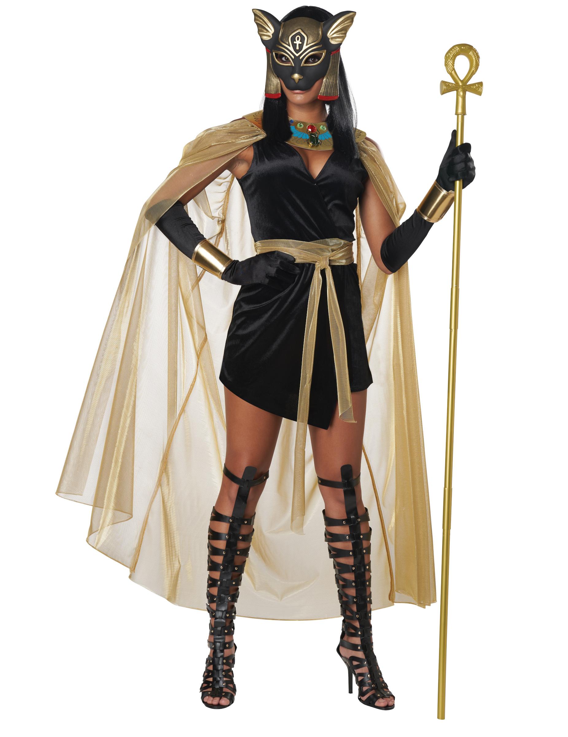 Ägyptische-Göttin-Kostüm Bastet-Kostüm Karneval-Kostüm Schwarz-Gold mit Ägyptische Katzengöttin