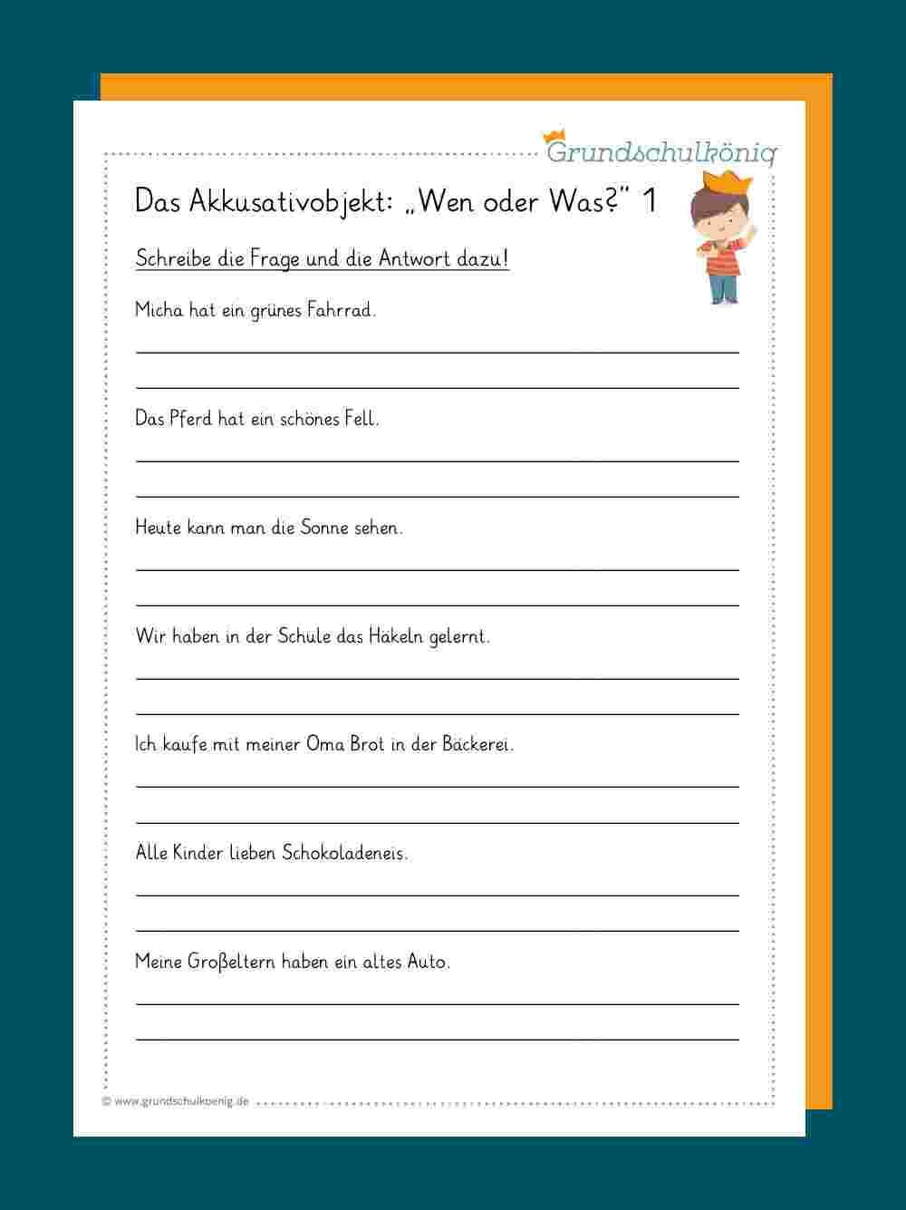 Akkusativobjekt für Übungsaufgaben Deutsch Klasse 4 Kostenlos