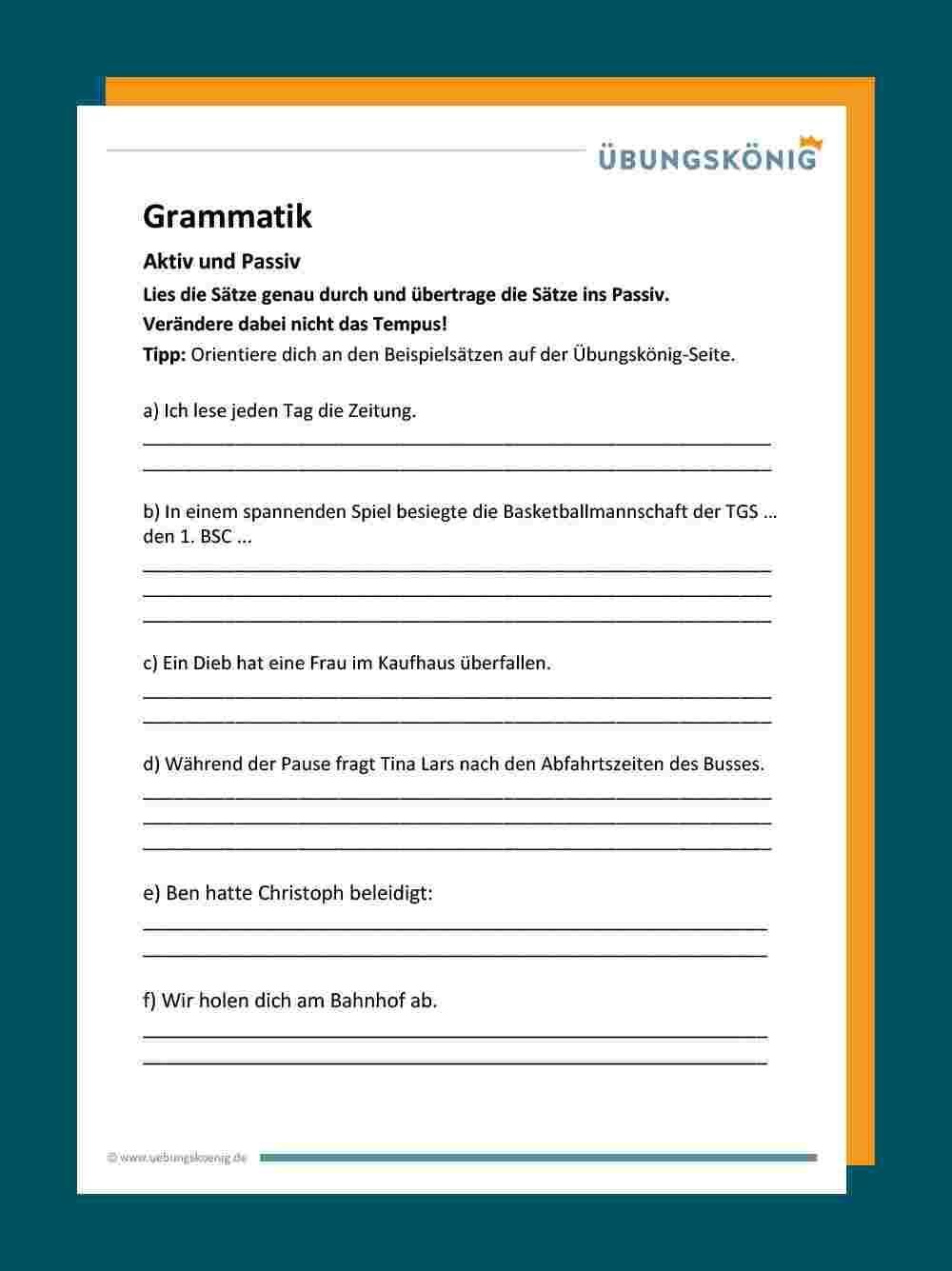Aktiv Und Passiv verwandt mit Deutsch 4 Klasse Zeitformen Übungen