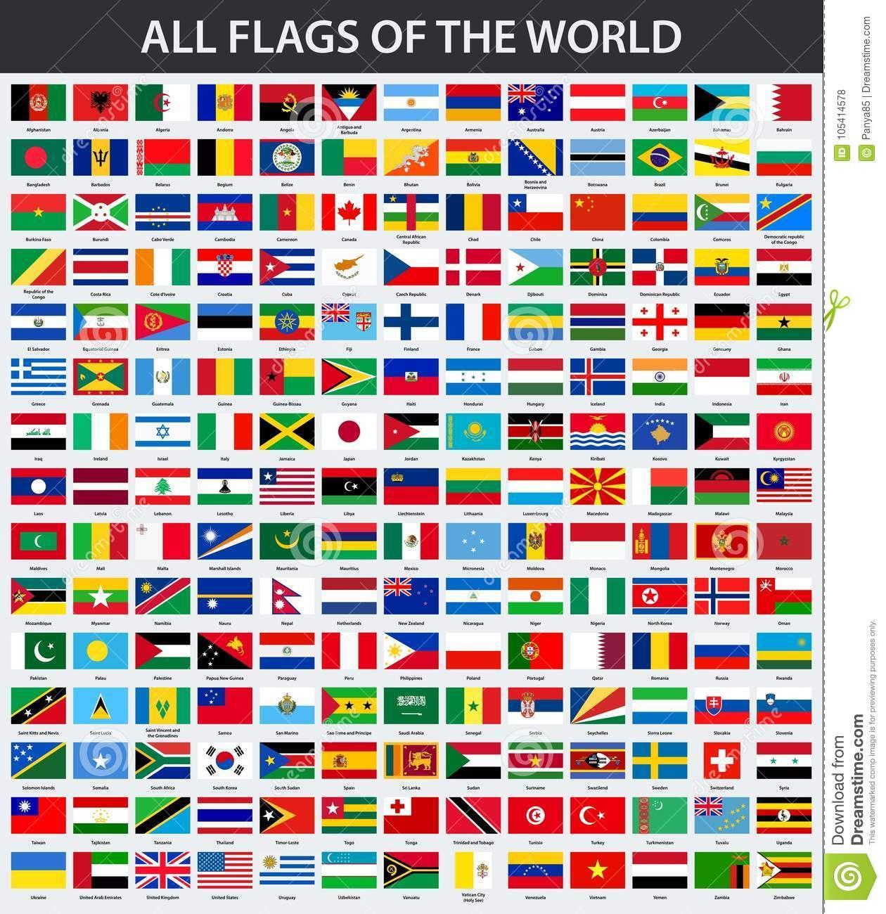 Alle Flaggen Der Welt In Alphabetischer Reihenfolge Vektor bei Flaggen Der Welt Download