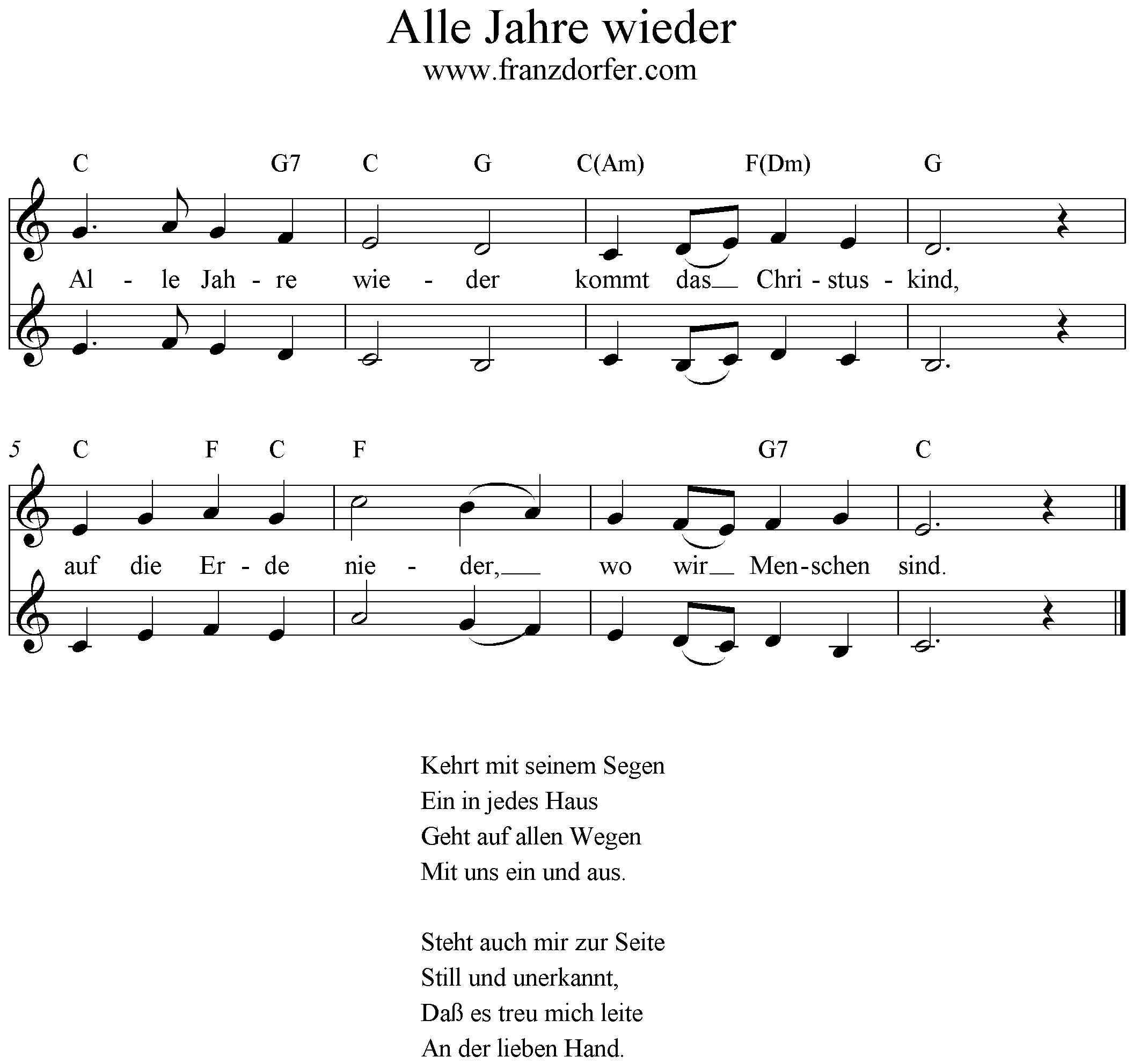 Alle Jahre Wieder in Alle Jahre Wieder Klaviernoten Einfach