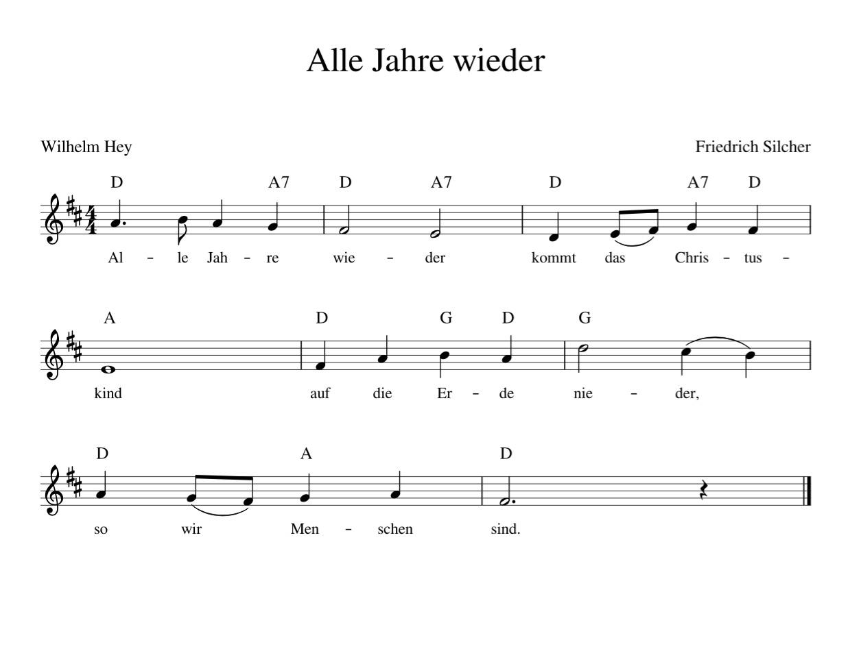 Alle Jahre Wieder - Kinderlieder - Noten - Text bestimmt für Alle Jahre Wieder Klaviernoten Einfach