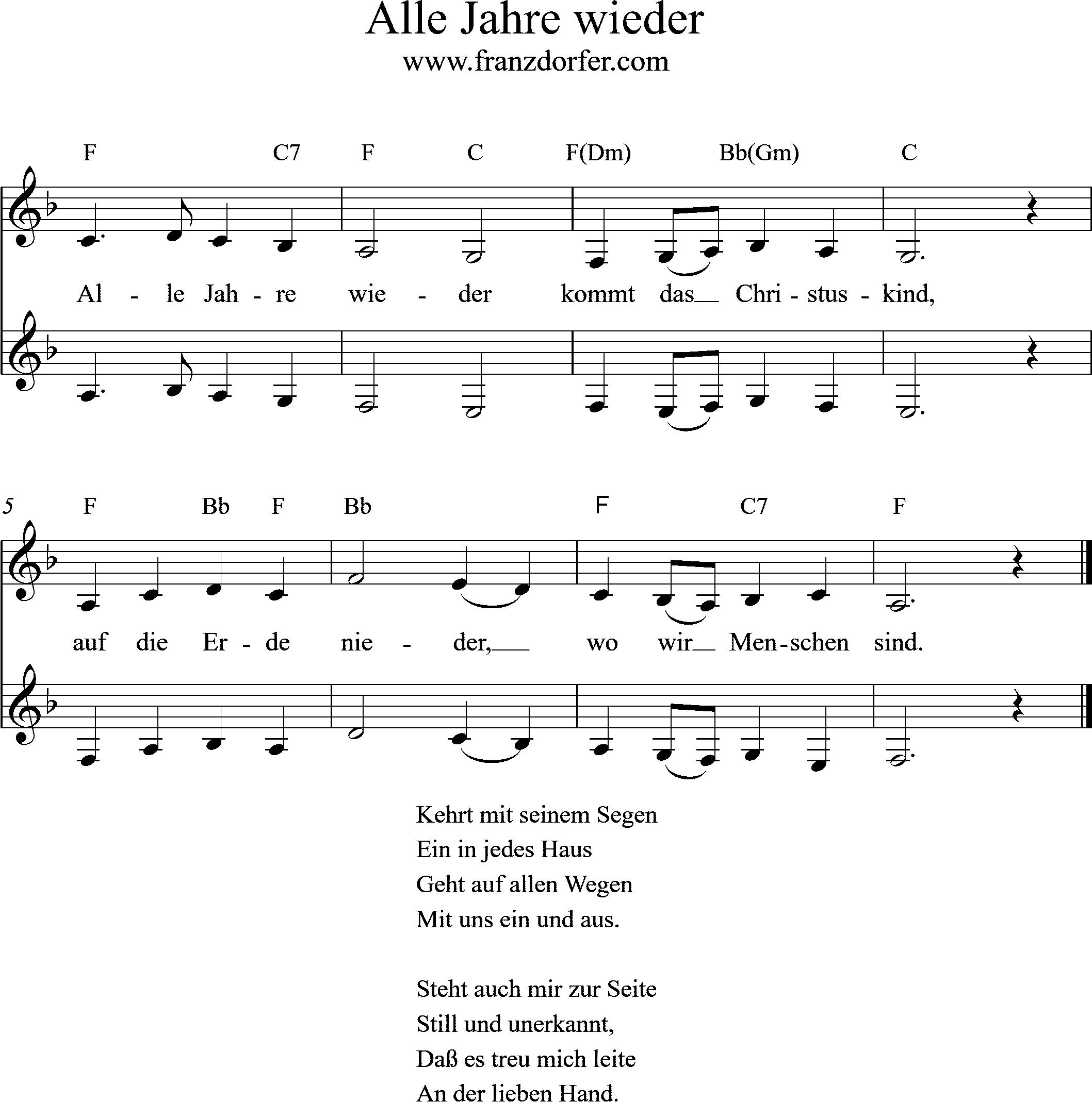 Alle Jahre Wieder - L1 für Alle Jahre Wieder Klaviernoten Einfach