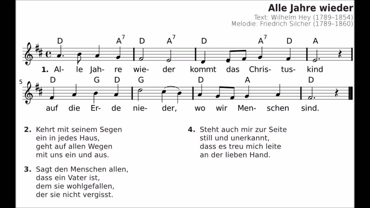 Alle Jahre Wieder - Lyrik - Weihnachtslieder Mit Noten - Christmas Carol  With Notes verwandt mit Alle Jahre Wieder Klaviernoten Einfach