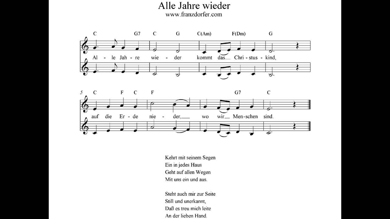 Alle Jahre Wieder über Alle Jahre Wieder Klaviernoten Einfach