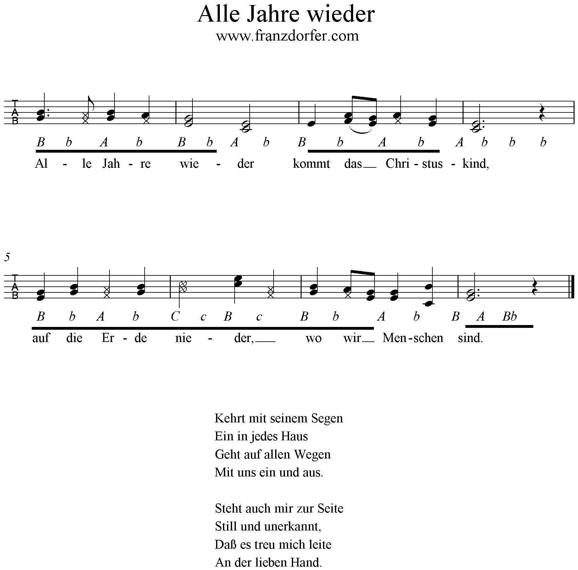 Alle Jahre Wieder verwandt mit Alle Jahre Wieder Klaviernoten Einfach